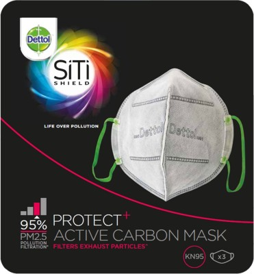 Dettol Siti Shield Carbon Activated Air-Pollution (Pack of 3) Mask