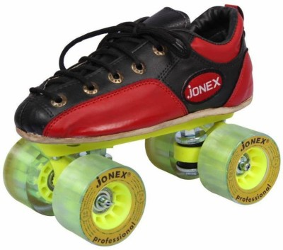 JJ Jonex Professional Series Fix Body Leather Shoe Hyper Roller Skates Size 5 Boot Size 25 cms With Synthetic Wheels With Bag Quad Roller Skates - Size 5 UK