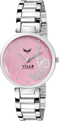 Vills Laurrens VL-7121 Peacock Designed Dial With Stainless Steel Chain (Pink) Watch  - For Girls