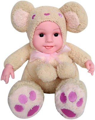 Sunshine Gifting Musical Fluffy Realistic Baby Toy with Music, Bear Shaped { Light brown } }
