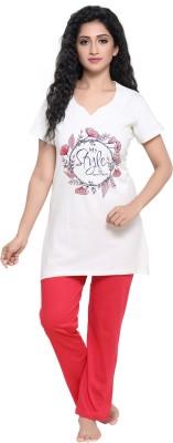Boring Dress Women Printed White Top & Pyjama Set