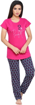 Boring Dress Women Printed Pink Top & Pyjama Set