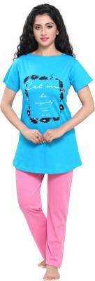 Boring Dress Women Printed Blue Top & Pyjama Set