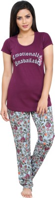 Boring Dress Women Printed Purple Top & Pyjama Set