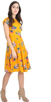 Rudraaksha Women Fit and Flare Yellow Dress
