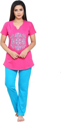 Boring Dress Women Solid Pink Top & Pyjama Set