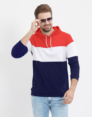 LEWEL Color block Men Hooded Multicolor T-Shirt