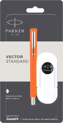 Parker Vector Stdard Chrome TRim(Fine Nib)Orge+3 free inkcart Fountain Pen