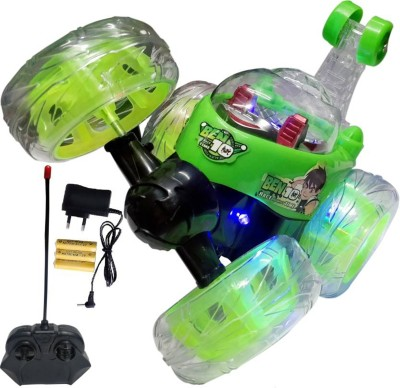Ben 10 Rechargeable Stunt Car Big Size 360 Degree Rotating Remote Control (Green)