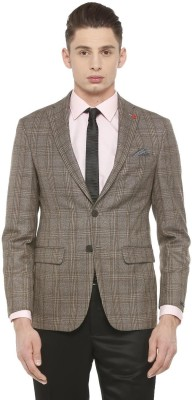 Peter England Checkered Double Breasted Formal Men Blazer