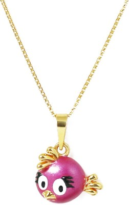 Bhima Jewellers Pink Angry Bird with Chain Long and Short Chain Yellow Gold Precious Chain