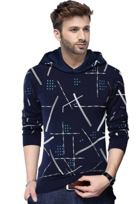 Tripr Abstract Men Hooded Neck Dark Blue T-Shirt