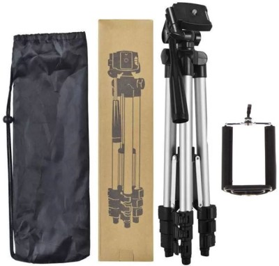 BUY SURETY Portable Adjustable Aluminium Lightweight Camera Stand Tripod-3110 With Three-Dimensional Head & Quick Release Plate For Video Cameras and mobile clip holder for Mobiles & Smartphones Tripod