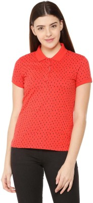 Allen Solly Printed, Geometric Print Women Polo Neck Red T-Shirt