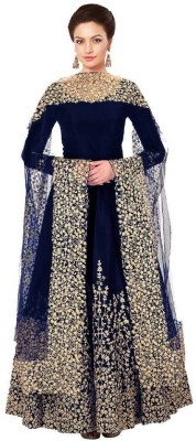 dharmee Poly Silk Embroidered Semi-stitched Salwar Suit Dupatta Material