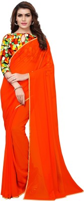 MODEL MADNESS Solid Fashion Poly Georgette Saree