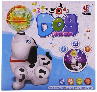 Be you own label MUSICAL AND DANCING , DANCING DOG WITH 3D LIGHT ( MULTICOLOR)