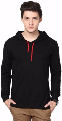 hero & piyush Solid Men Hooded Black T-Shirt