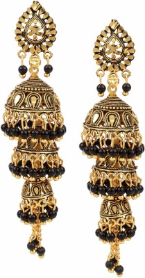 Fashion Frill Fashion Frill Ethnic Party Wear Black Coloured Light Weighted 3 Step Jhumki Earring For Girls / Women Alloy Jhumki Earring