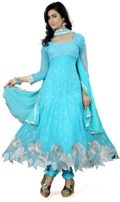 Mert India Poly Georgette Embroidered Semi-stitched Salwar Suit Dupatta Material