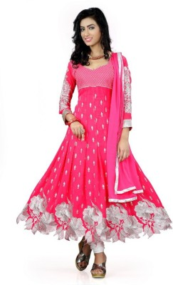 Mert India Poly Georgette Embroidered Salwar Suit Material