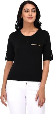 Raaika Solid Women Round Neck Black T-Shirt