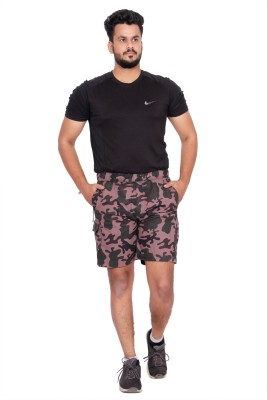 Kuber Industries Printed Men Purple, Dark Green Regular Shorts