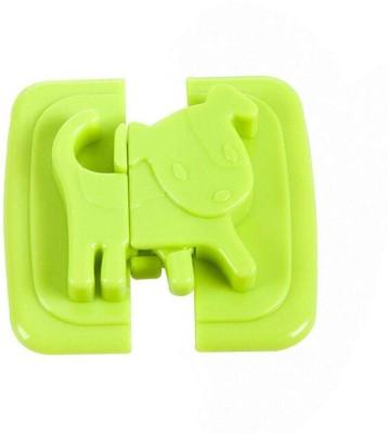 Kolorfish Dog Shape Protection Cabinet Door Drawers Refrigerator,Baby Safety Plastic Lock (Set of 2) (Green) Door Mounted Door Stopper