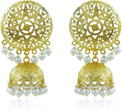 Divastri Latest Trend Stylish Party Wear Traditional Moti Jhumka Earrings Pearl Copper Jhumki Earring