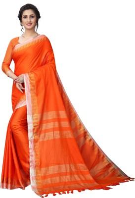 THE RED LION ENTERPRISE Temple Border Fashion Cotton Linen Blend Saree