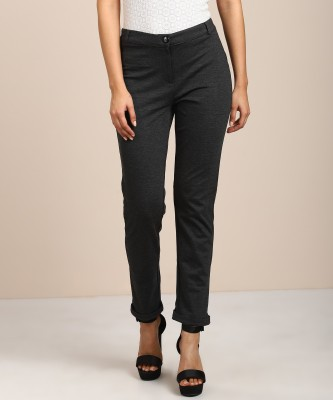 AND Slim Fit Women Grey Trousers