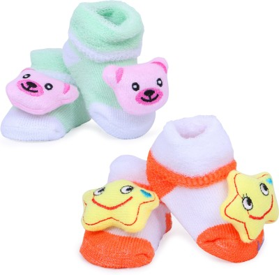 ALEMKIP Born Baby Colour And Multiprints Socks/Shoes - 2 pcs In One pack Booties