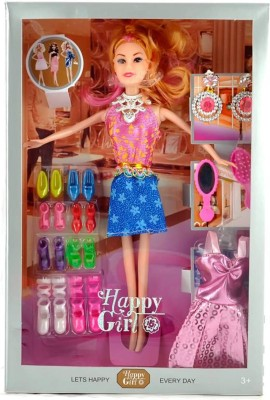 Barbie TOYS HAPPY GIRL DOLL SERIES WITH DOLL DRESSES SET FOR KIDS (Pink)