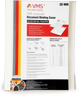 VMS Transparent Plastic Imperial A4 Thermal Binding Document Cover White Paper and Transparent Plastic Cover with PVC Glue for Thermal Binding Machine (20 mm Pack of 10 Pcs)
