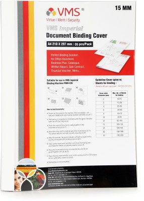 VMS Transparent Plastic Imperial A4 Thermal Binding Document Cover White Paper and Transparent Plastic Cover with PVC Glue for Thermal Binding Machine (15mm Pack of 5 Pcs)