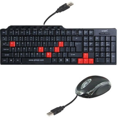 QHMPL Combo USB keyboard and Mouse Wired USB Multi-device Keyboard