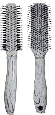 Majik Combo Of Round And Flat Professional Hair Brush For Blow Drying, Parlor Accessories For Women And Men, Set Of 2, White