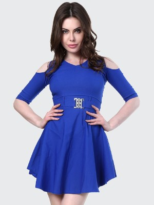 BuyNewTrend Women Fit and Flare Blue Dress