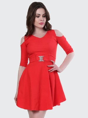 BuyNewTrend Women Fit and Flare Red Dress