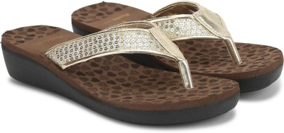 Bata NEW MEXICO Women Brown, Gold Wedges