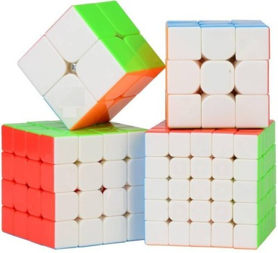 D ETERNAL Rubiks rubix cube combo set of 2x2 3x3 4x4 5X5 cube high speed stickerless magic rubic cube Brainstorming Puzzle Cube combo 4 Game Toy