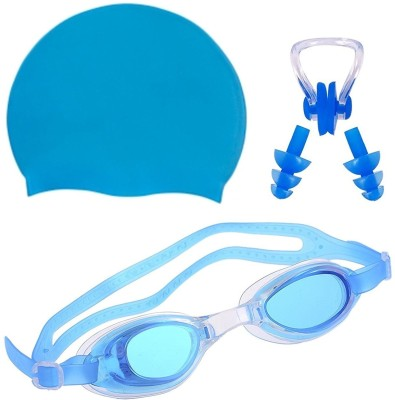 THE MORNING PLAY HIGH Quality Goggles Silicone Cap 1 Nose Clip + 2 Ear Plugs LIGHT BLUE Swimming Kit