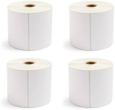 youtech 100mmX150mm (4 inch X 6 inch), Thermal Transfer Barcode Labels online shipping labels Stickers, Set of 4 Rolls, 300 Labels In Roll (Smooth & Milky White) Paper Label Paper Label