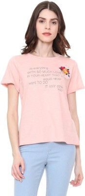 People Printed Women Round Neck Pink T-Shirt