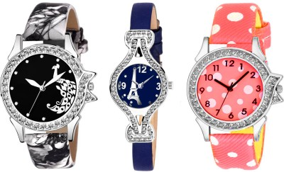UNU Stylish New Fresh Arrival Combo Sett Of Three Multicolour~23 Women And Girls Watch  - For Women