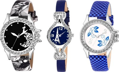 UNU Stylish New Fresh Arrival Combo Sett Of Three Multicolour~74 Women And Girls Watch  - For Women