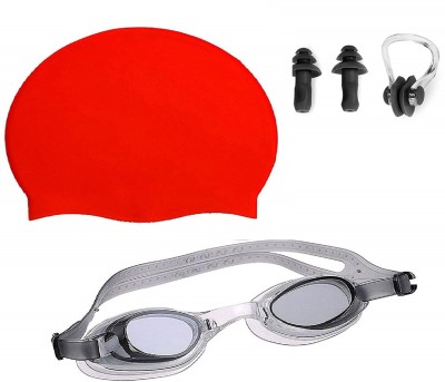 MINISO /\/\ ||\||os :) HIGH Quality Goggles Silicone Cap 1 Nose Clip + 2 Ear Plugs RED Swimming Kit Swimming Kit