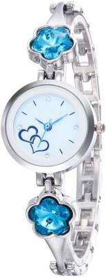 Loretta Unique Choice Heart Print Silver Ladies Sky blue Crystal Diamond Analog Watch  - For Women