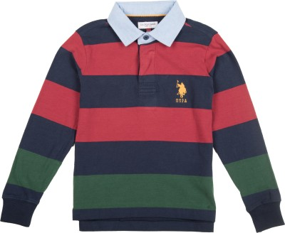 U.S. Polo Assn Boys Striped Cotton Blend T Shirt