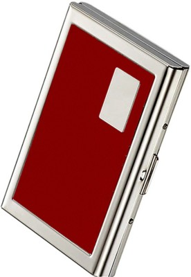 Stealodeal Red Leather Piece Stainless Steel 6 Card Holder